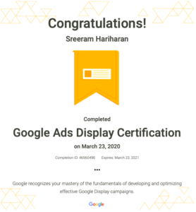 Google Ads Display Certification Sreeram Hariharan