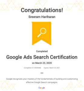 Google Ads Search Certification Sreeram Hariharan