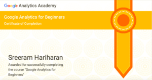 Google Analytics for Beginners Certification Sreeram Hariharan