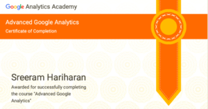 Advanced Google Analytics Certification Sreeram Hariharan