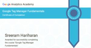 Google Tag Manager Fundamentals Certification Sreeram Hariharan