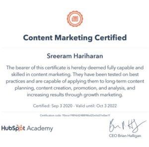 Content Marketing Certified Sreeram Hariharan