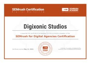 SEMrush for Digital Agencias Certification Digixonic Studios