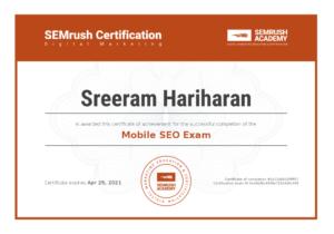 Mobile SEO Exam Certification Sreeram Hariharan