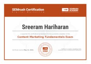 Content Marketing Fundamentals Exam Certification Sreeram Hariharan