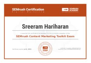 SEMrush Content Marketing Toolkit Exam Certification Sreeram Hariharan