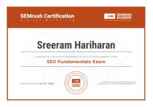 SEO Fundamentals Exam Certification Sreeram Hariharan
